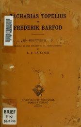 Zacharias Topelius og Frederik Barfod: en Brevveksling