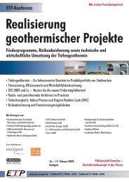 Realisierung geothermischer Projekte