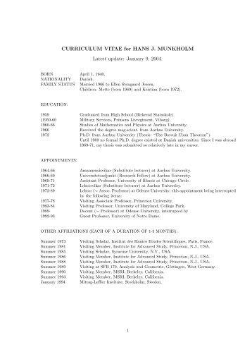 CURRICULUM VITAE for HANS J. MUNKHOLM Latest update ...
