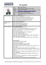 Hent Martin Sten Jørgensen´s CV som PDF fil i ... - Venstre Bornholm