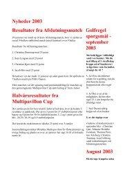 Nyheder 2003 Resultater fra Afslutningsmatch ... - Roskilde Golfklub