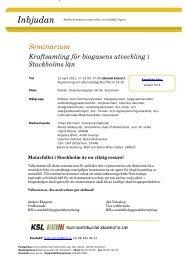 Seminarium - SLL Tillväxt, miljö och regionplanering (TMR)