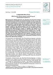 max-planck-institut für quantenoptik - Laboratory of Photonics and ...