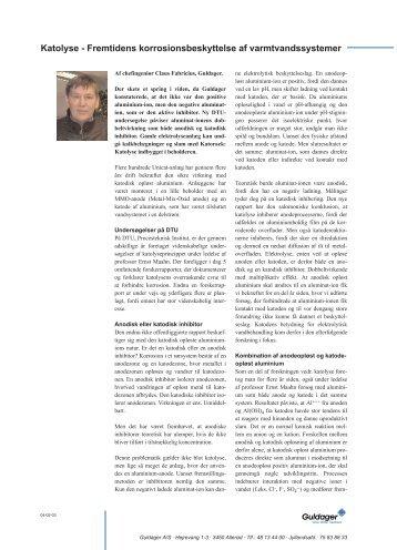 Katolyse - Fremtidens korrosionsbeskyttelse af ... - Guldager