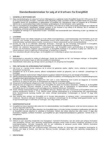 Standardbestemmelser for salg af el til erhverv fra EnergiMidt