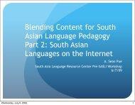 Blending Content for South Asian Language Pedagogy Part 1: The ...