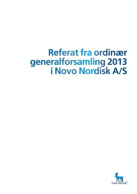 Referat fra ordinær generalforsamling 2013 i Novo Nordisk A/S