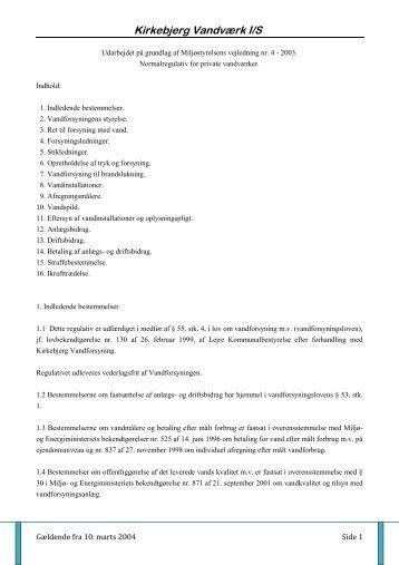 Regulativ - Kirkebjerg Vand.dk