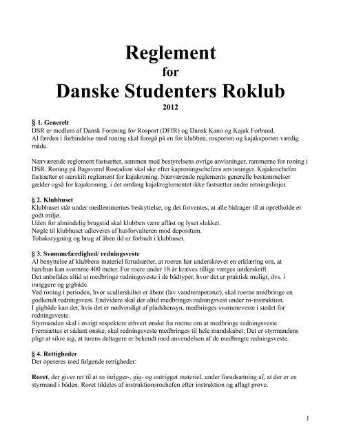 Reglement for DSR - Danske Studenters Roklub