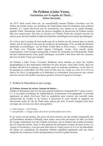 De Pythéas à Jules Verne : Variations sur le mythe de Thulé