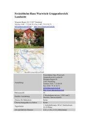Freizeitheim Haus Warwisch Gruppenbereich Landsicht