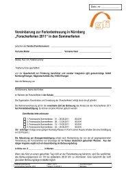 Vereinbarung zur Ferienbetreuung Forscherferien in Nürnberg