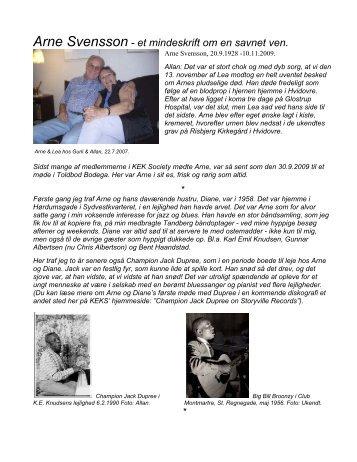 Arne Svensson - et mindeskrift om en savnet ven. - New Page 0