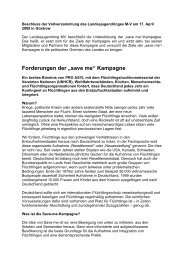 Forderungen der save me Kampagne - Landesjugendring MV