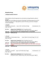 Beispielrechnung >>Kinder brauchen Ferien - Landesjugendring MV