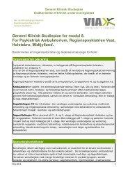Generel Klinisk Studieplan for modul 8. For Psykiatrisk ...