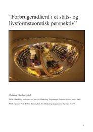 Forbrugeradfærd i et stats- og livsformsteoretisk perspektiv