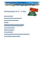 Aktivitetsopgaver for 10 – 12 årige