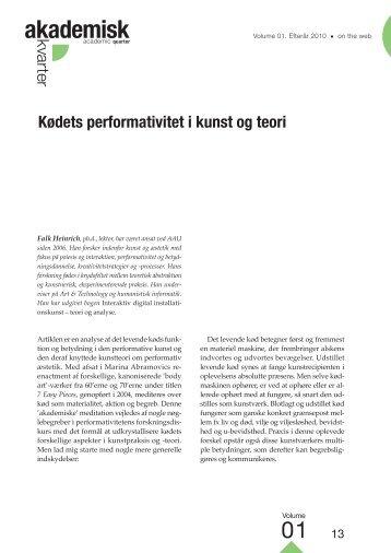 Kødets performativitet i kunst og teori • Falk Heinrich - Akademisk ...