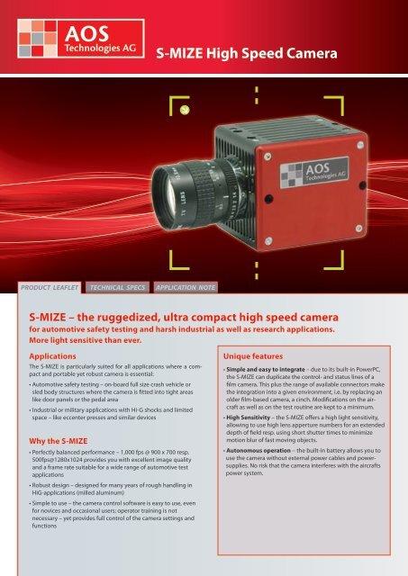 S-MIZE High Speed Camera - AOS Technologies AG