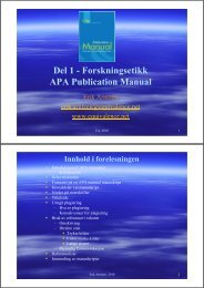 Del 1 - Forskningsetikk APA Publication Manual - Erik Arntzen
