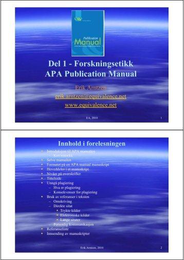 Del 1 - Forskningsetikk APA Publication Manual - Erik Arntzen