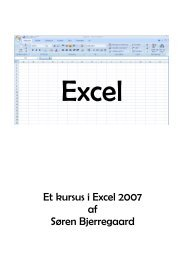 Kursus i brug af Excell 2007