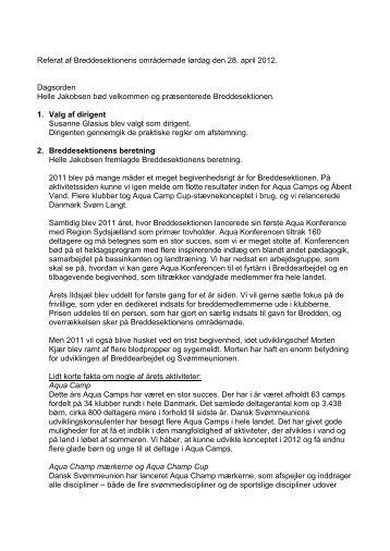 Referat af Breddesektionens områdemøde - Dansk Svømmeunion