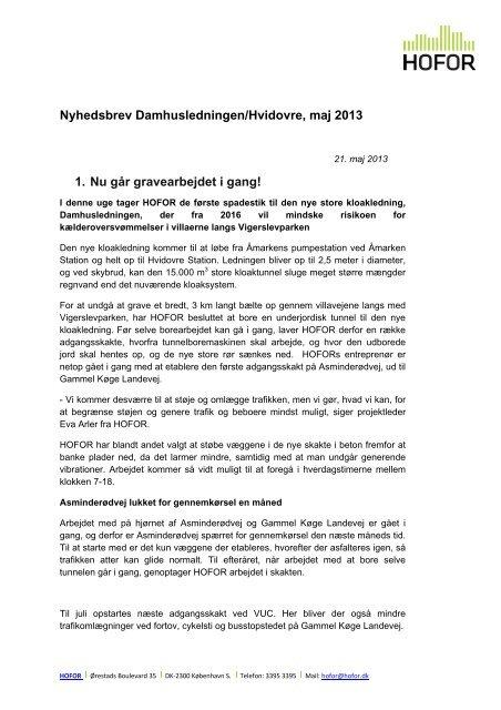 Nyhedsbrev Damhusledningen/Hvidovre, maj 2013 1. Nu går ... - hofor
