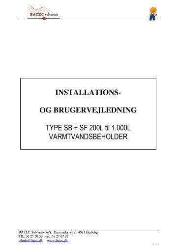 Varmtvandsbeholdere (SB & SF) - BATEC Solvarme