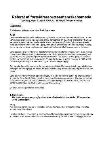 Referat af forældrerepræsentantskabsmøde - Elise Smiths Skole