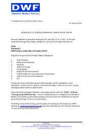 Til medlemmerne af Danish Water Forum 22. Februar 2011 INDKALDELSE ...