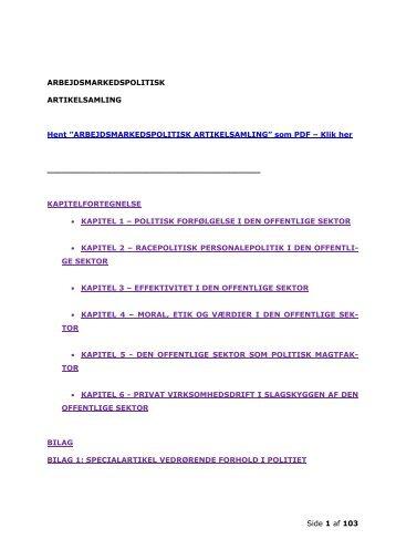 ARBEJDSMARKEDSPOLITISK ARTIKELSAMLING - Karsten Holt ...