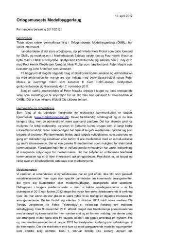 OMBL - Formandens beretning 2012.pdf - Orlogsmuseets ...