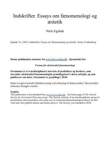Indskrifter. Essays om fænomenologi og æstetik - Livsverden.dk