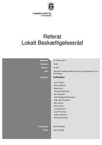 Referat Lokalt Beskæftigelsesråd - Faaborg-Midtfyn kommune