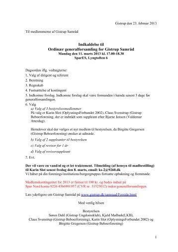 Indkaldelse til Ordinær generalforsamling for Gistrup Samråd