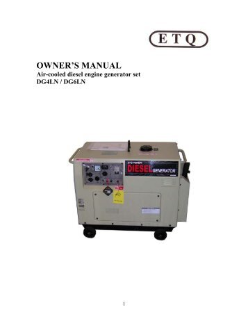 OWNER'S MANUAL Air-cooled Diesel Engine ... - John Meister