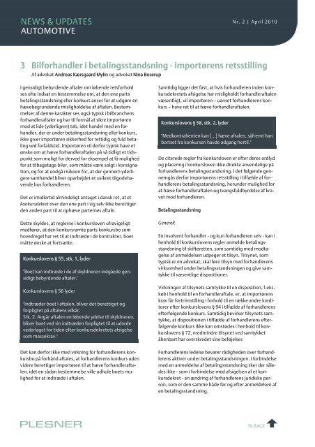 Indhold 1 Opretholdelse af konsignationsforholdet ved ... - Plesner
