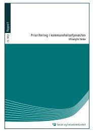 Prioritering i kommunehelsetjenesten - Helsedirektoratet