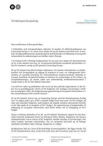 Til Folketingets Europaudvalg - Dansk Industri