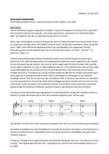 den rytmiske musiks historie - Hasseris Kirke