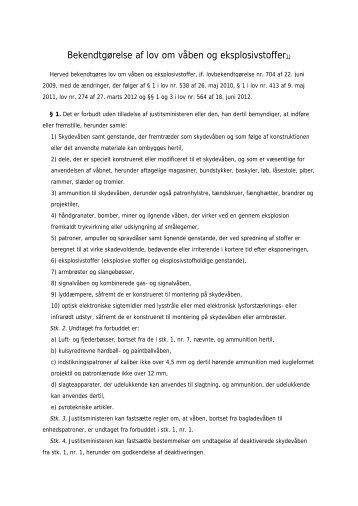 Bekendtgørelse af lov om våben og eksplosivstoffer1) - ICRC