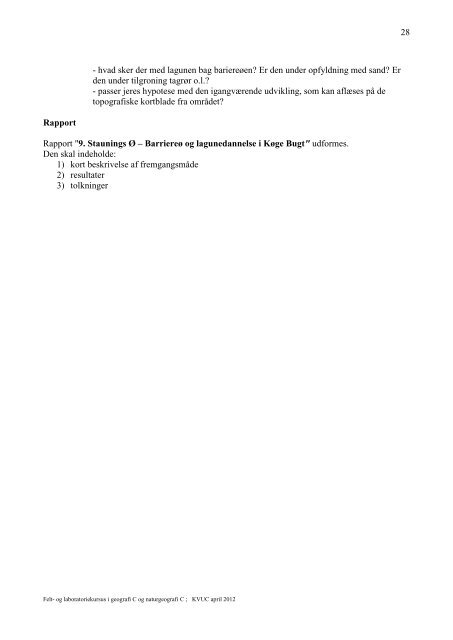 Laboratoriekursus i geografi C og naturgeografi C - KVUC