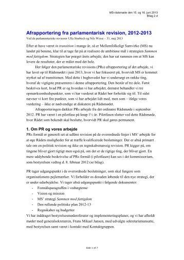 Afrapportering fra parlamentarisk revision - Mellemfolkeligt Samvirke
