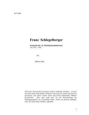 Franz Schlegelberger - auf der Netzseite von Prof. Dr. iur. Menno Aden