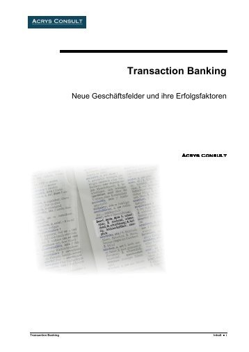 Transaction Banking - Acrys Consult