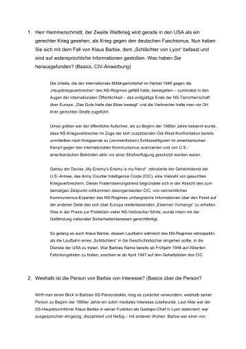 neue Informationen zu Klaus Barbie - Egoisten