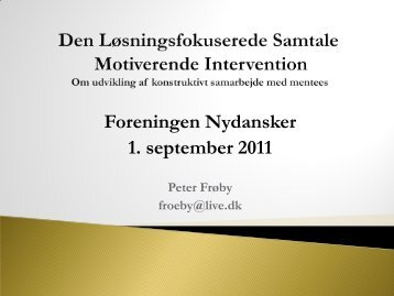 Løsningsfokuseret coaching - Foreningen Nydansker