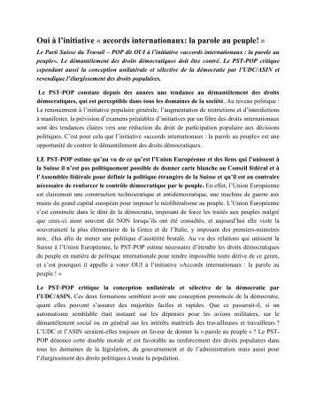 Oui à l'initiative « accords internationaux: la parole au peuple! »